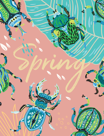 Spring greeting card with decorative insects.  イラスト・ベクター素材