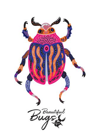Print of decorative ornamental beetle. Fantasy vector illustration