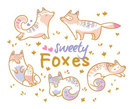 Set of cute cartoon foxes, cats. Ideal for patch, pins, brooch and stickers. Vector illustration