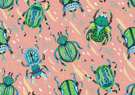 Seamless pattern with decorative ornamental beetles. Fantasy vector illustration