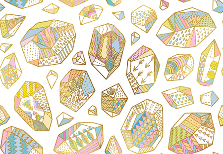 Seamless pattern of golden decorative minerals, crystals and gems with colorful ornaments Stock Photo