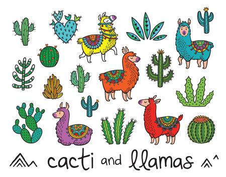 Collection of cacti and llamas in cartoon style Ilustração