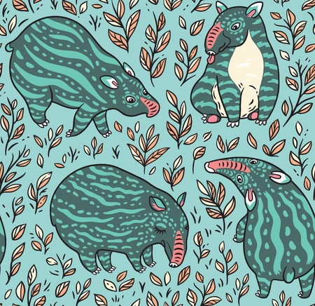 Cartoon green tapirs with light stripes in the plants. Vector seamless pattern