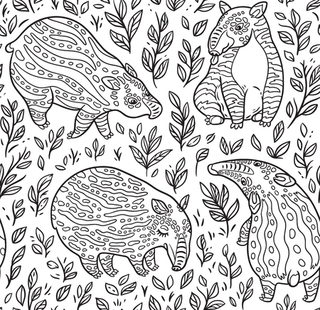 Cute cartoon tapirs with stripes in the plants. Contour vector seamless pattern