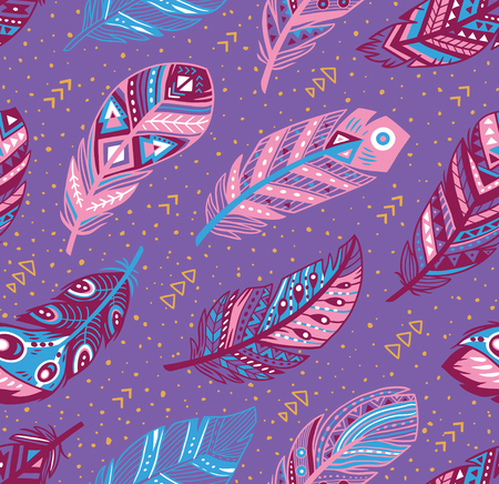 Decorative feathers pattern. Tribal feathers in blue, pink and purple colors. Ideal for fabric, wallpaper, wrapping design