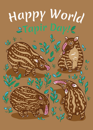Happy World Tapir Day. Tapir lovers card. Brown tapirs with light stripes in the plants.