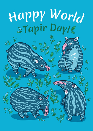 Happy World Tapir Day. Tapir lovers card. Blue tapirs with light stripes in the plants.