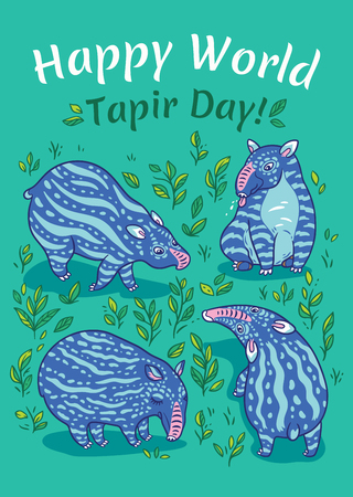 Tapirs greeting card. Blue tapirs with light stripes in the green plants. Vector illustration