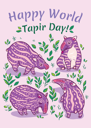 Tapirs greeting card. Pink tapirs with light stripes in the leafs. Vector illustration