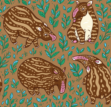 Cartoon brown tapirs with light stripes