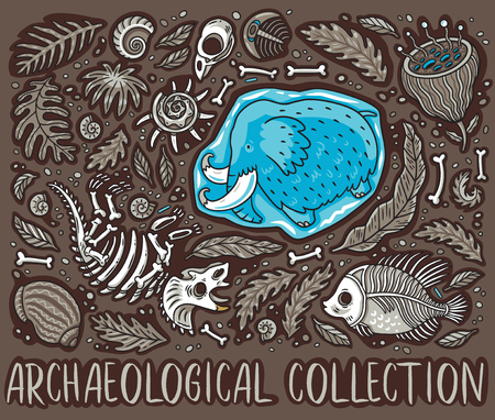 Ancient fossils, bones, leaves and skeletones set. Vector illustration Foto de archivo - 102160443