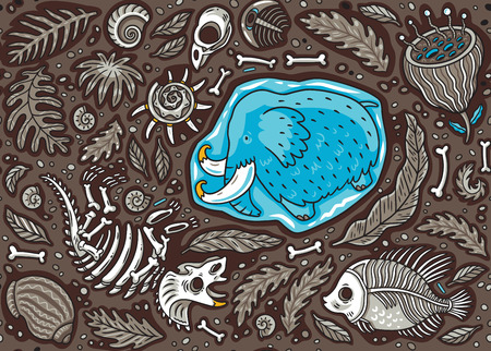 Seamless pattern of cartoon Triceratops fossil, mammoth in ice, ancient ammonites ferns, trilobite, leaves and rocks.