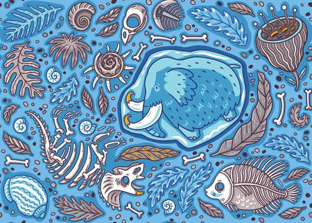 Naadloos patroon met oude fossielen, botten, bladeren en skeletones in cartoon-stijl. Vector illustratie