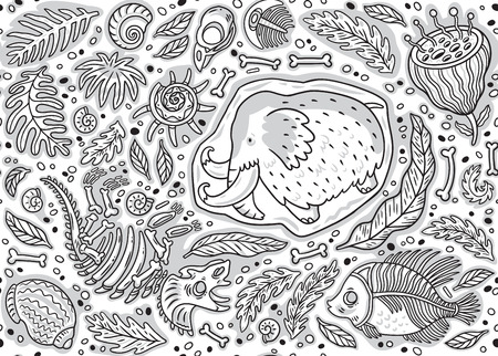 Seamless pattern of dino fossil, mammoth in ice, ancient ammonites ferns, trilobite, leaves and rocks in contour. Illustration