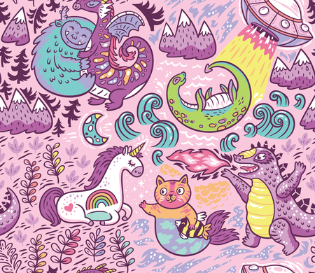 Fantastic creatures, animal pattern. Vector cute background