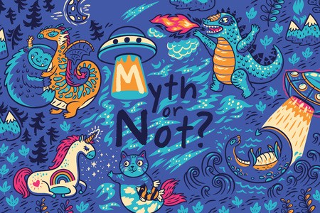 Myth or not. Vector print with fantastic creatures
