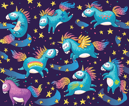 Vector pattern with cute unicorns in cartoon style. Magic background