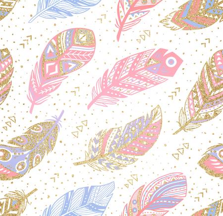 Tribal boho aztec endless background. Hand drawn illustration.