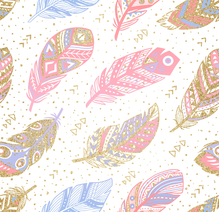 Tribal boho aztec endless background. Hand drawn illustration.