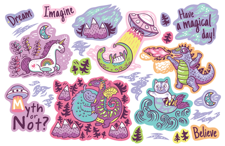 Set of vector stickers, patches with cute unicorn, Yeti, Dragon, cat and mermaid, lochness, ufo and Godzilla 일러스트