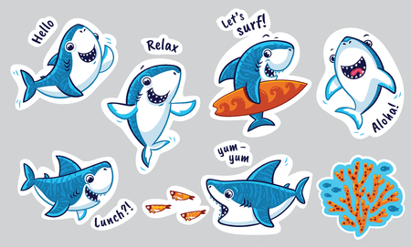 Zestaw naklejek z zabawnymi rekinami w stylu cartoon. Ilustracji wektorowych