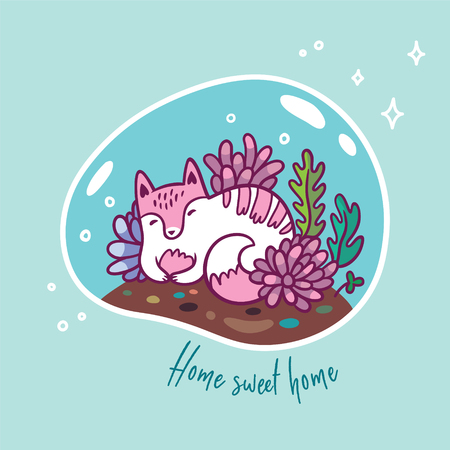 Floral terrarium with cute kawaii cat. Vector print. Sweet home Illustration