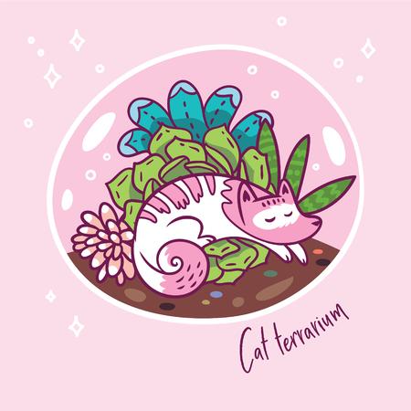 Succulent garden terrarium with cute kawaii cat. Vector print.