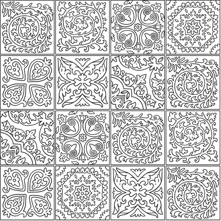Black and white morocco mosaic design. Abstract ornamental tile in contour