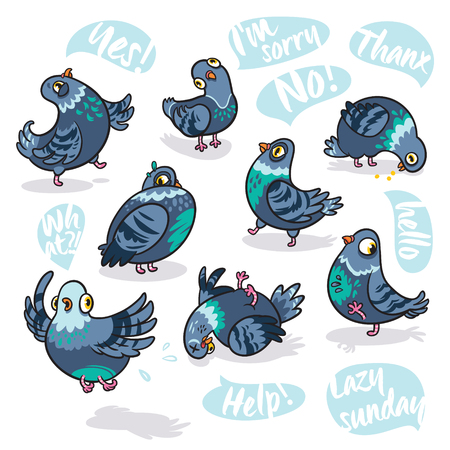 Set of cartoon pigeons. Design for stickers, pins and patches.