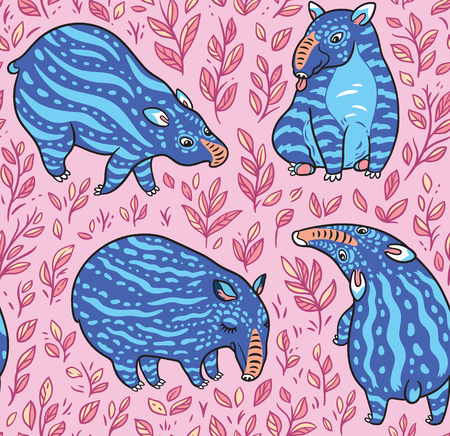 Cartoon tapirs seamless pattern. Blue tapirs with light stripes in the leafs. Vector illustration