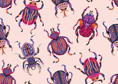 Seamless pattern with decorative ornamental beetles. Fantasy illustration