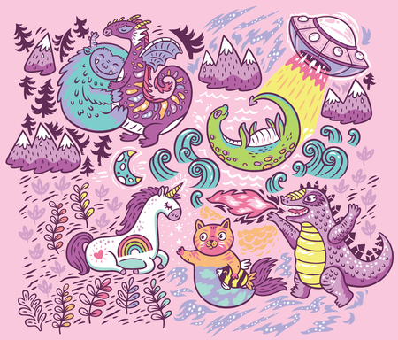 Vector print with fantastic creatures isolated on pink background Foto de archivo - 102691830