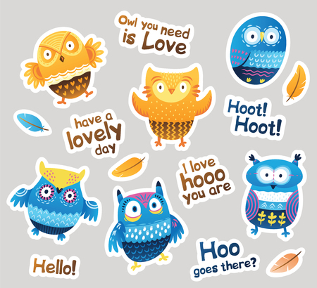 Set of stickers with cartoon blue and orange owls with decorative ornaments. Vector illustration Stock Photo