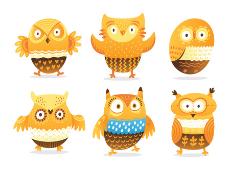 Set of cute cartoon orange owls with decorative ornaments. Vector illustration