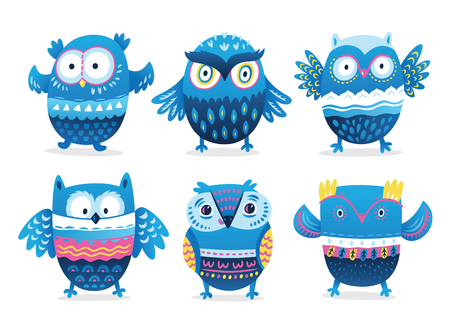 Cute cartoon blue owls with decorative ornaments. Vector illustration