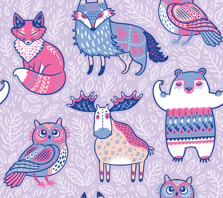 Tribal forest animals in cartoon style.