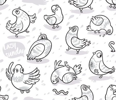 Seamless pattern with cartoon pigeons in outline. Ink background