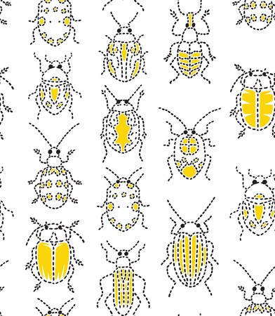 Embroidery bugs seamless pattern on white background.