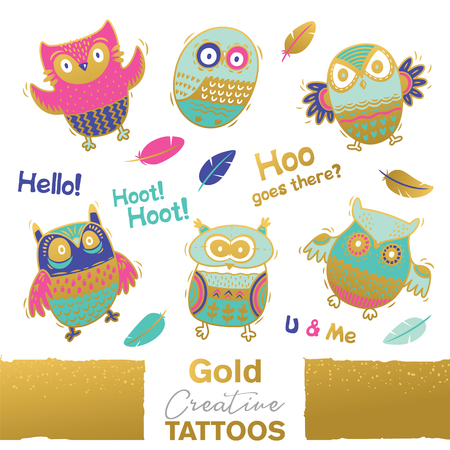 Vector collection of funny owls with golden ornament. Unique design Illustration