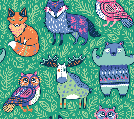 Tribal forest animals in green. Vector illustration