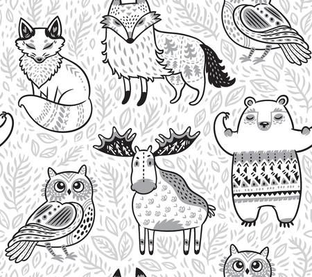 Animales del bosque tribal en estilo de dibujos animados. Ilustración vectorial