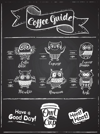 Coffee guide infographic with cartoon owls. Owl Cup . Chalkboard style design. Vector illustration.