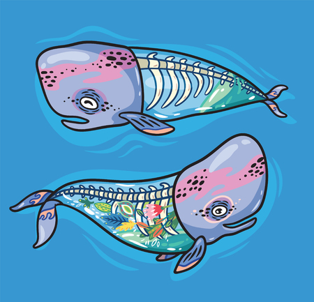 Collection of two silhouettes whales with a skeleton and flowers inside. Creative vector illustration for poster, tattoo, t-shirt and card design.