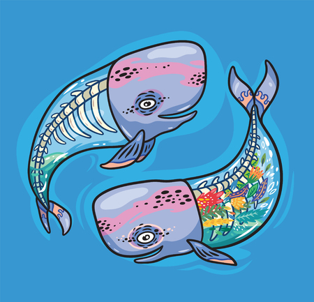 Collection of cartoon whales with skeleton and flowers inside. Creative vector illustration for poster, tattoo, t-shirt and card design.
