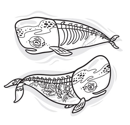 Ink collection of two silhouette whale with a skeleton and flowers inside. Ideal for coloring print