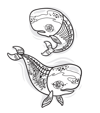 Ink collection of cartoon whales with skeleton and flowers inside. Coloring book page design