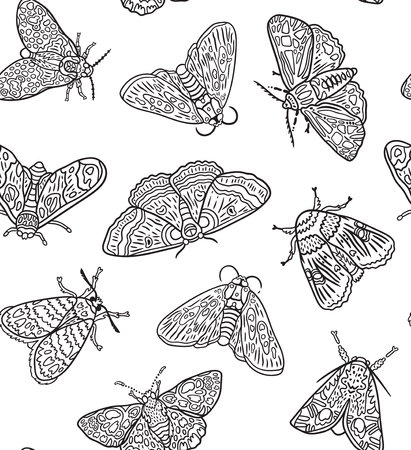 Seamless pattern with contour moths. Black and white surface design. Ideal for coloring print. Vector illustration  イラスト・ベクター素材
