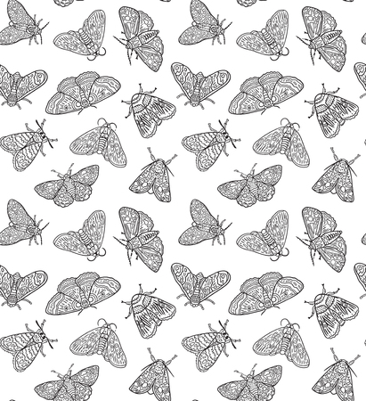Seamless pattern with contour moths. Black and white surface design. Ideal for coloring print. Vector illustration Illustration
