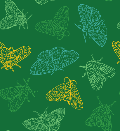 Seamless pattern with green contour moths. Green surface design. Vector illustration