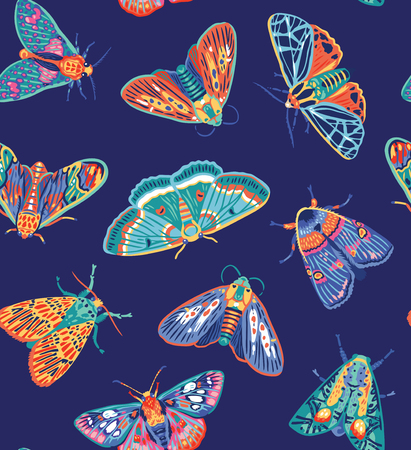 Seamless pattern with colorful moths. Creative modern childrens background. Vector illustration